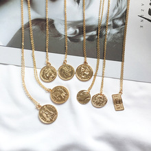 MEIBEADS  Vintage Carved Gold Coin Roman Necklace For Women Bohemian Pendant Necklaces Boho Jewelry Choker Statement Necklaces meibeads vintage carved gold coin roman necklace for women bohemian pendant necklaces boho jewelry choker statement necklaces