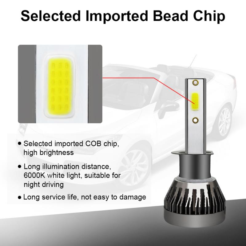 <font><b>LED</b></font> headlight bulb H1 <font><b>LED</b></font> Headlight Bulb <font><b>90W</b></font> 12000LM Conversion Kit Super Bright CSP <font><b>Chips</b></font> 6000K Cool White Color car accessorie image