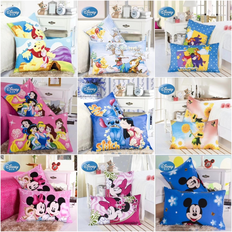 Disney 100% Cotton Pillowcases 2Pcs Cartoon Winnie Mermaid Stitch Princess Couple Pillow Cover Decorative PillowsCase 48x74cm