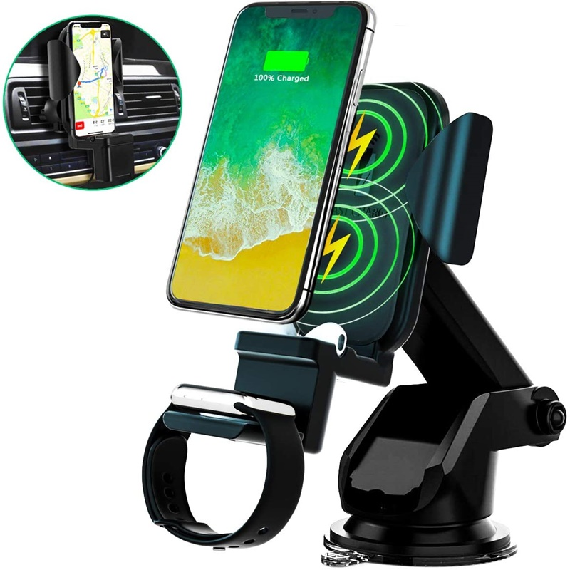 Tongdaytech 3 in 1 10W Car Qi Wireless <font><b>Charger</b></font> Holder For Iphone 8 Plus XR XS 11 Pro MAX Fast <font><b>Charger</b></font> For Apple Watch <font><b>5</b></font> 4 3 2 1 image