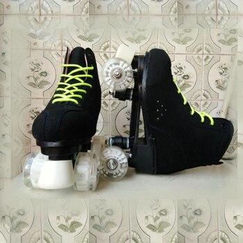 Negro amarillo doble fila 4 ruedas Patines adultos hombres mujeres rueda intermitente PU Patines de 4 ruedas zapatos de Patinaje