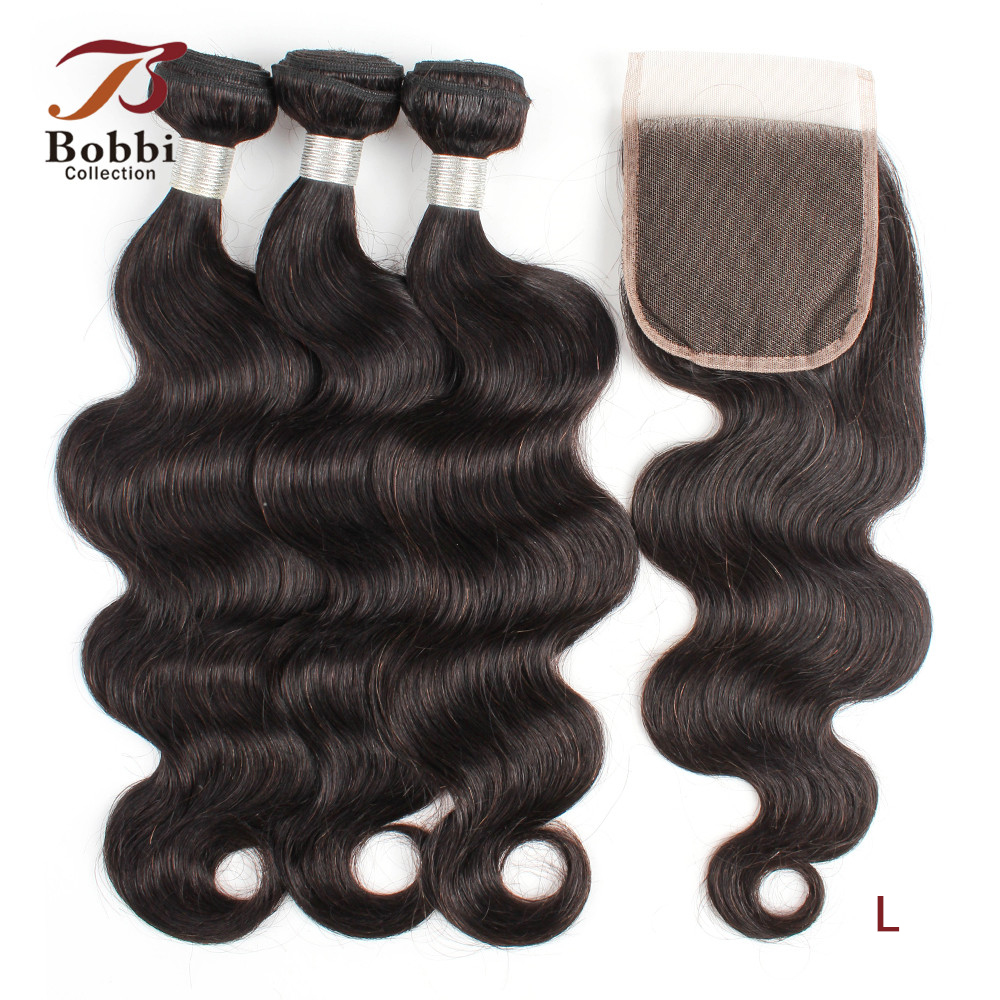 BOBBI COLLECTION Brazilian Body Wave Hair Bundles With Closure 2/3 Bundles With Closure Natural Black Non-Remy Human Hair