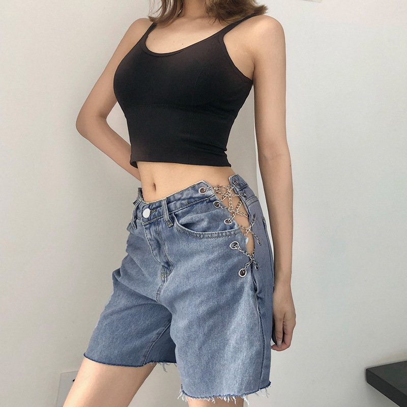 Summer 2020 Women's New Fashion Personalized Irregular Split Fork Hole High Waist Loose Jeans Women's Straight Pants Mop Pants
