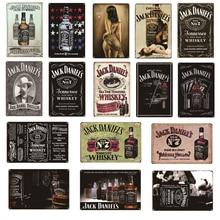 Vintage Whiskey Metal Poster Jack Retro Tin Signs Pub Beer Bar Wall Decorative Plates Home Decor 20x30cm AL100