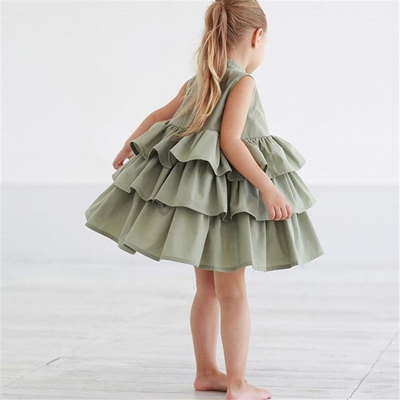 Summer Cute Black Green Ball Gown Girls Dresses Kid Girl Party Dress Sleeveless O Neck Cake Ruffled Tutu Bubble Dress 2-6T 5