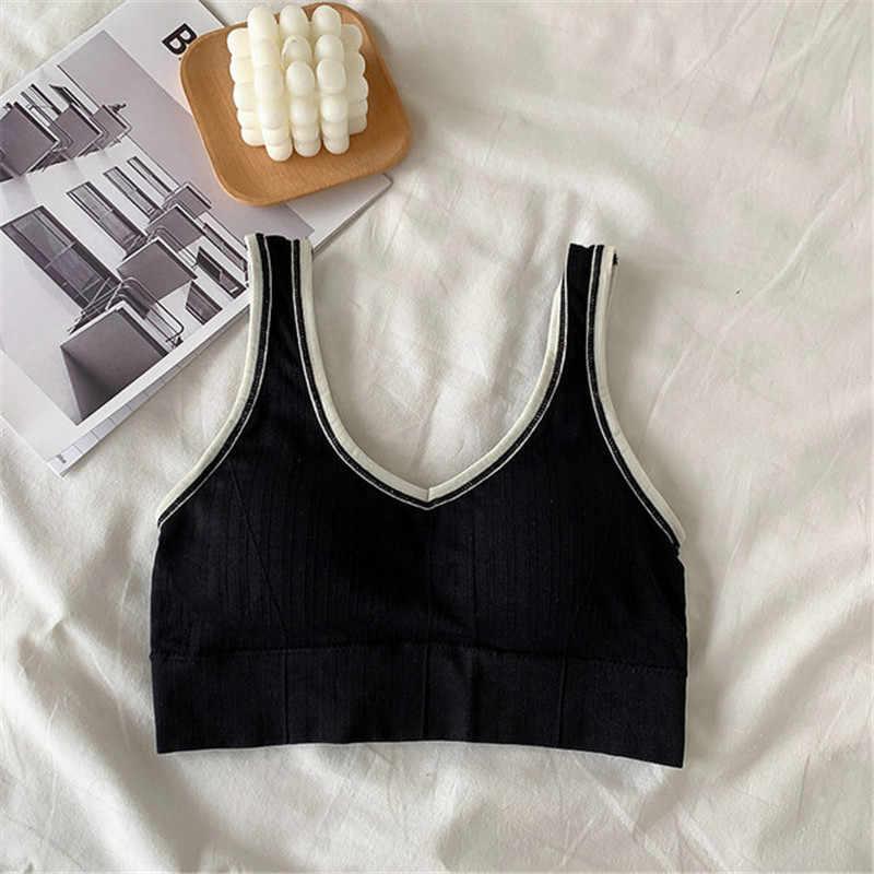 Hình Dáng Mới Quần Lót Phần Ngắn Slim Mỏng Áo Ngực Mặc Áo Ngực Thể Thao Với Miếng Lót Ngực Lót Ren