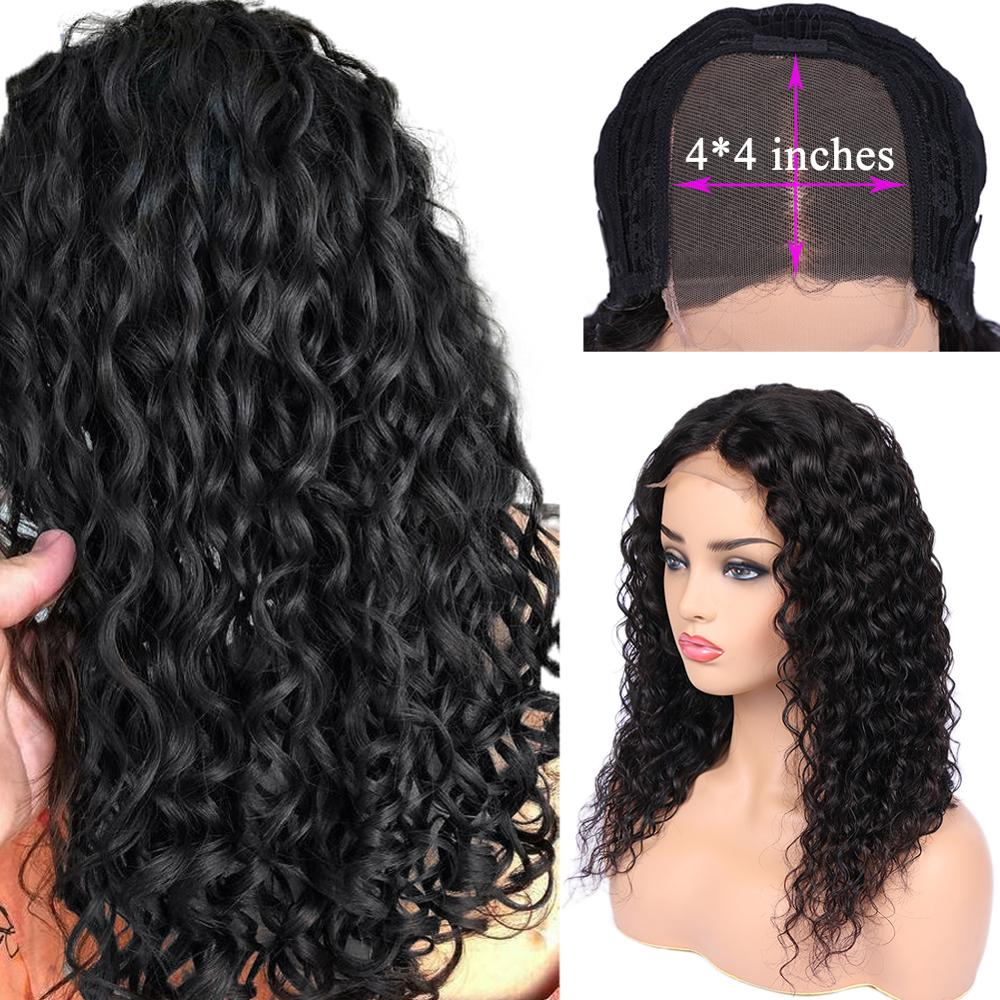 FAVE Human Hair Lace Wigs 4x4 Lace Closure Water Wave Wig Pre-Plucke Glueless Brazilian Remy Wig 8-20 Inches Wig For Black Women