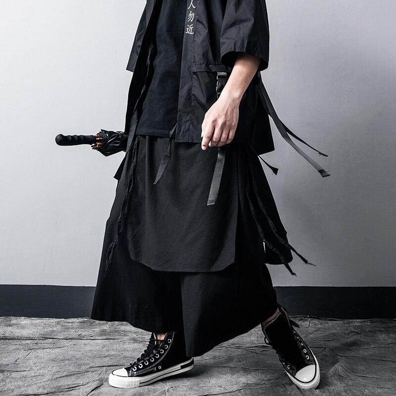Харадзюку стиль мужские широкие брюки для отдыха Хлопок Лен высокое качество мужские шаровары 2020 летние спортивные штаны Мужская Уличная о...