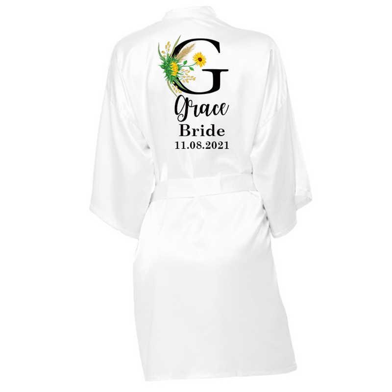 Pribadi Nama Kustom Satin Jubah Piyama Pernikahan Bridesmaid Hadiah Pesta Pengantin Jubah Pernikahan Satin Kimono