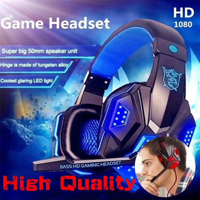 Surround Stereo Gaming Headset Stirnband Kopfhörer Wired USB 3.5mm LED mit <font><b>Mic</b></font> für <font><b>PC</b></font> PS4 Xbox One Laptops Tablet Smartphones image