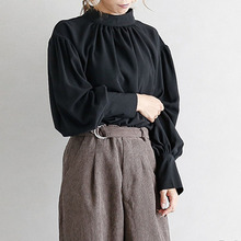 Spring Fall Office Ladies Blouse Japanese Chiffon Women's Round Neck Lantern Sleeve Pullover Shirts Elegant Solid Color Tops lantern sleeve tied neck blouse