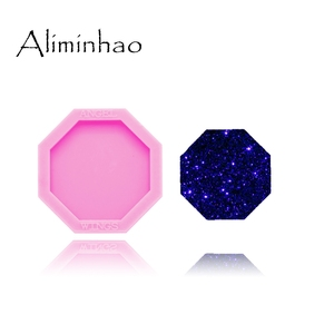DY0294 Shiny 1.5 inch hexagon silicone shiny mold for phone socket badge reels DIY epoxy silicon Resin Crafting molds(China)