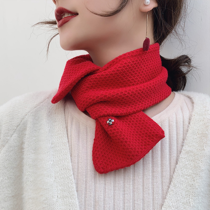 2019 New Winter Sold Color Red Black White Thick Warm Knit Scarf Neckerchief Women Knitted Neck Warmer Scarves Foulard Femme