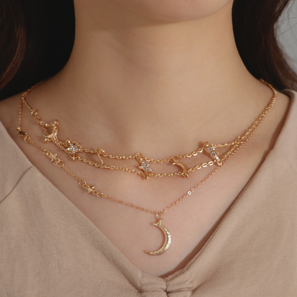Fashion Multilayer Choker Necklace Star Moon Chain Gold Pendant Women Jewelry
