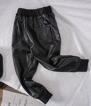 2019 New Arrival Fashion Black Pants Kids Trousers Kids Fake PU Trousers  Boys Winter