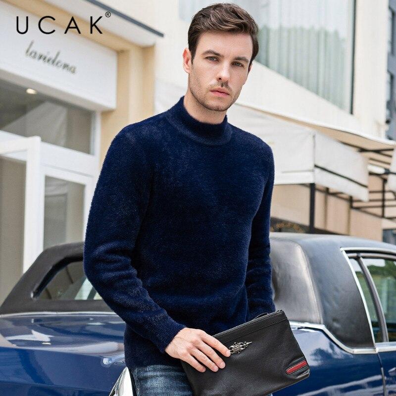 UCAK Brand Sweaters Men's Fashion Stylish Pull Homme 2019 Autumn Winter Casual Stereetwear Turtleneck Solid Pullover Knit U1023