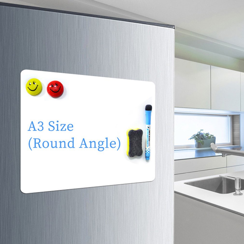 A3 Rounded Refrigerator Magnet White Small Whiteboard Children's Magnetic Office Billboard Soft Whiteboard
