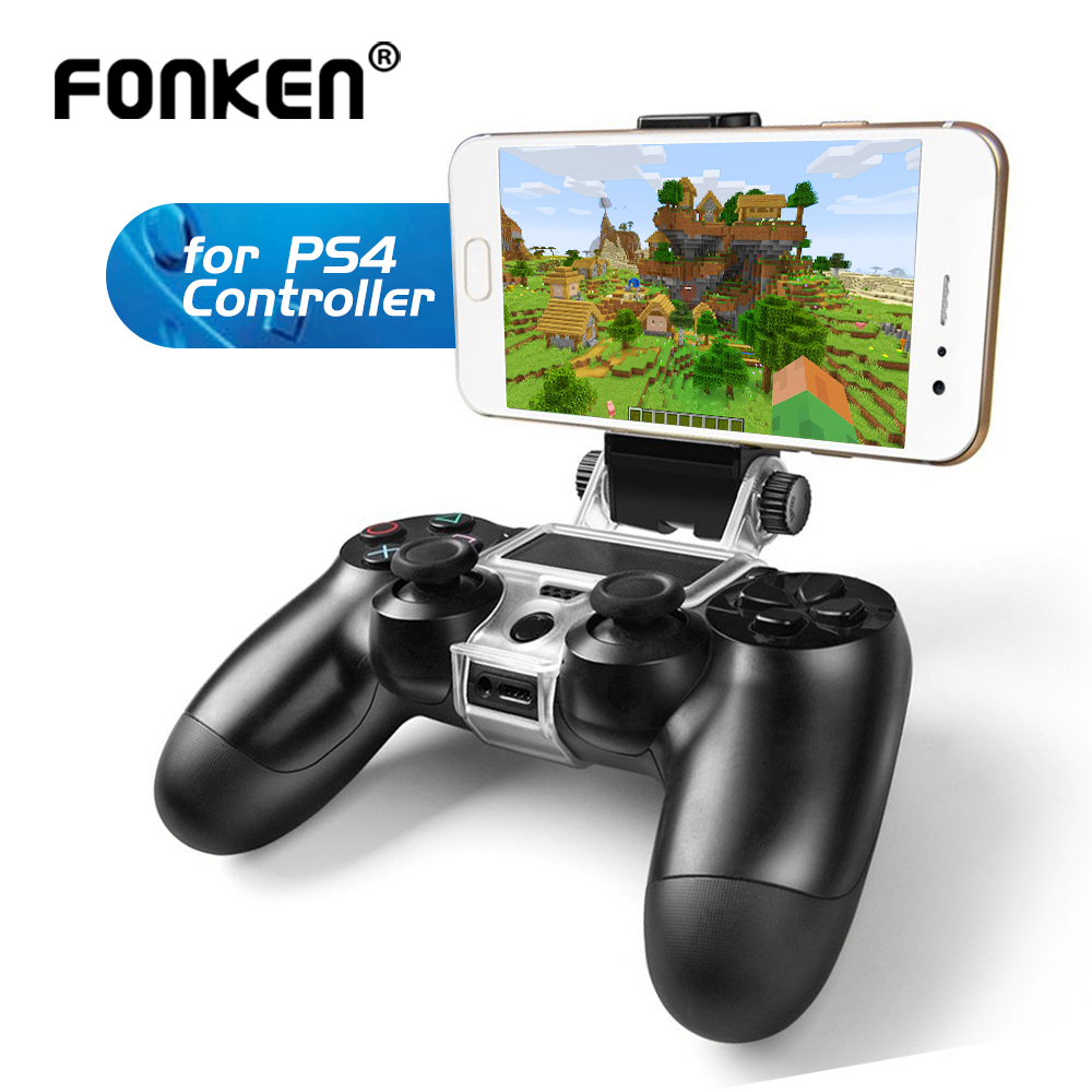 FONKEN Cellphone Holder For PS4 Game Controller Gamepad Phone Holder Clip Clamp Mount PlayStation Stand For PS 4 Bracelet Stand