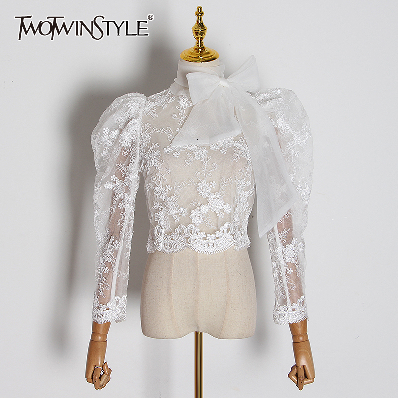 TWOTWINSTYLE Lace Embroidery Perspective Shirt For Women Stand Collar Puff Long Sleeve Slim Blouses Female Fashion Clothing Tide