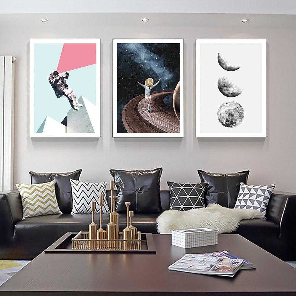 Póster de universo de dibujos, imágenes de planetas, lienzo para niños, arte de pared para sala de estar, impresiones decorativas modernas para el hogar en la pared Nuevo módulo de placa de alimentación universal LCD de super 5 cables CA-888 pantalla universal módulo de fuente de alimentación universal