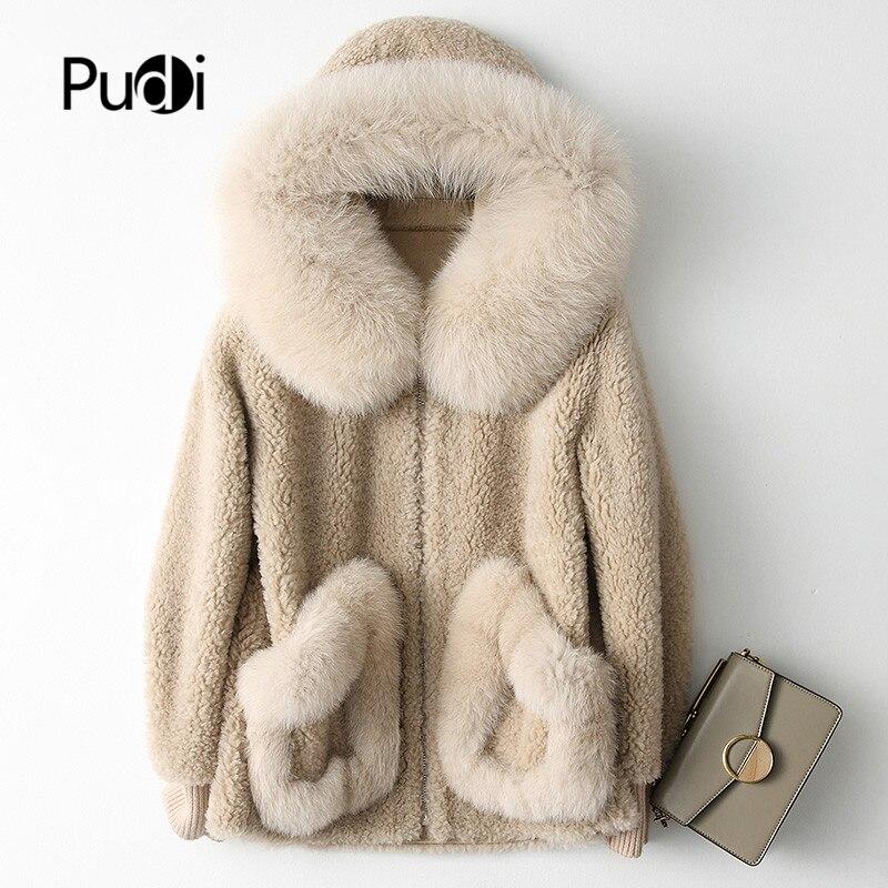 PUDI A18103 Women's Winter Wool Warm Real Fox Fur Hood Coat Lady Real Wool Long Coat Jacket Overcoat