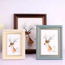 Marco de fotos Europea Retro pintura con motivo de boda mesa de pared creativa de madera colgante hecho a mano rectángulo Vintage decoración del hogar regalos
