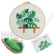Haofa 20cm DIY Embroidery Plant Handwork Needlework for Beginner Cross Stitch Kit Quilting Embroidery Hoop Home Decoration