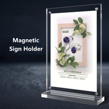 A4 T shape Double Side Magnetic Acrylic Sign Card Holder Display Stand Menu Paper Stands Frame For Tables Restaurants Sign Board