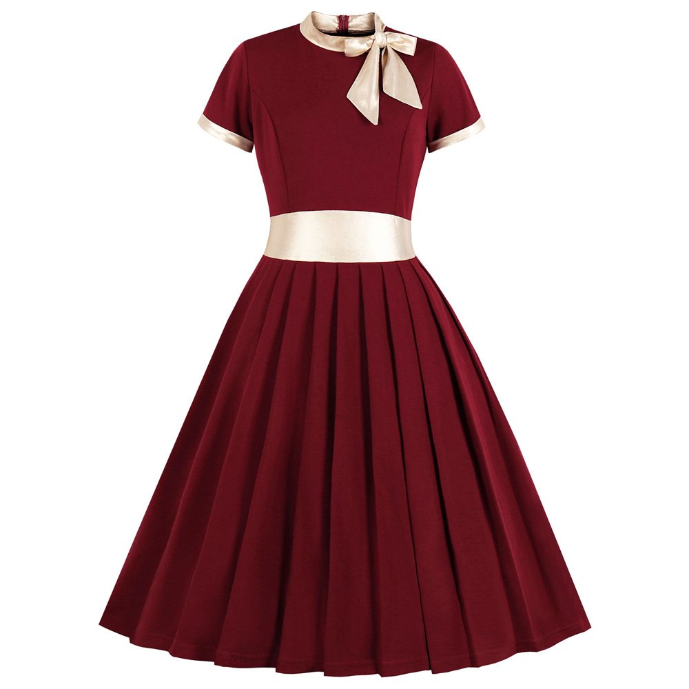 Платья для вечеринок с лентами и бантами, платья для праздников размера плюс, однотонное женское ретро платье с короткими рукавами