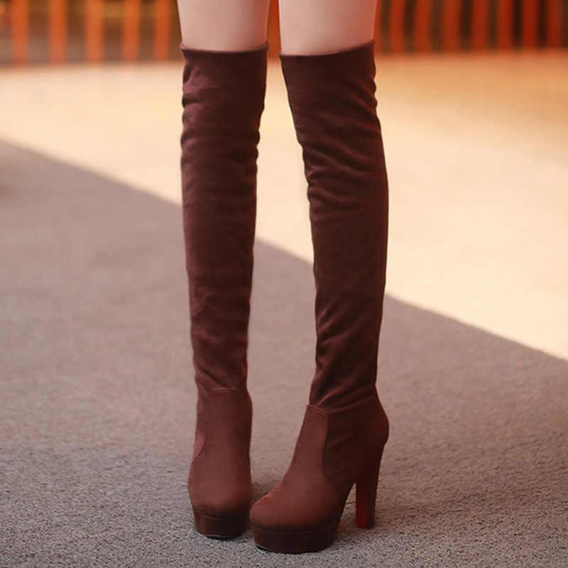 Over-the-diz Çizmeler Uyluk Yüksek Çizmeler Kadın Kışlık Botlar Platform Çizmeler Deri yüksek topuklu kadın ayakkabıları Kadınlar Için