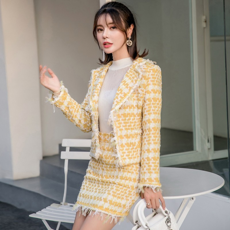 Spring New Office Ladies Short Tweed Jacket Tassels Wrap Mini Skirt Two Piece Outfits Womens Suits Set Party Slim Fit Twill Sets