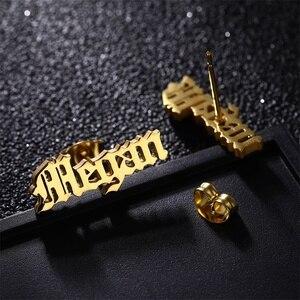 Женские серьги-гвоздики на заказ, золотые и серебряные серьги из нержавеющей стали золотого цвета, серебряные ювелирные изделия, специальн...