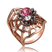 Crystal Animal Ring Fashion Accessories Exaggerated Rhinestone Rose Red/Clear Spider Rings For Women (Ajojewel Brand)