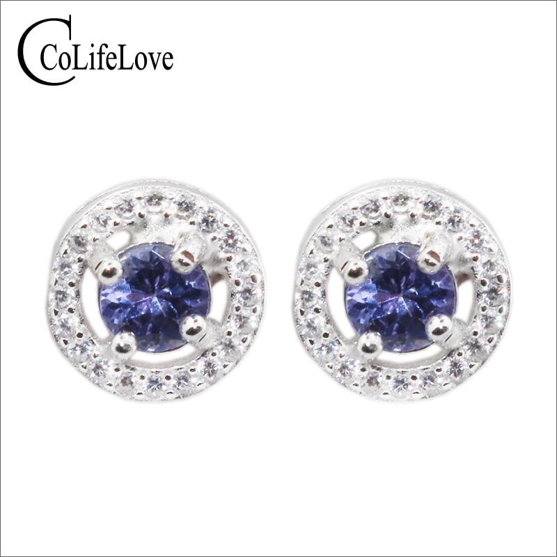 Promtion silver tanzanite stud earrings 4 mm round natural tanzanite silver earrings 925 sterling silver tanzanite jewelry