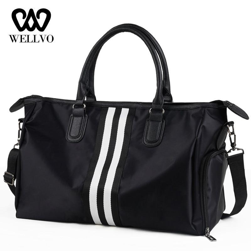 Unisex Nylon Travel Bag Women Duffle Handbag Hand Luggage Shoulder Bags Couple Stripe Crossbody Tote Short Trip Packing XA716WB