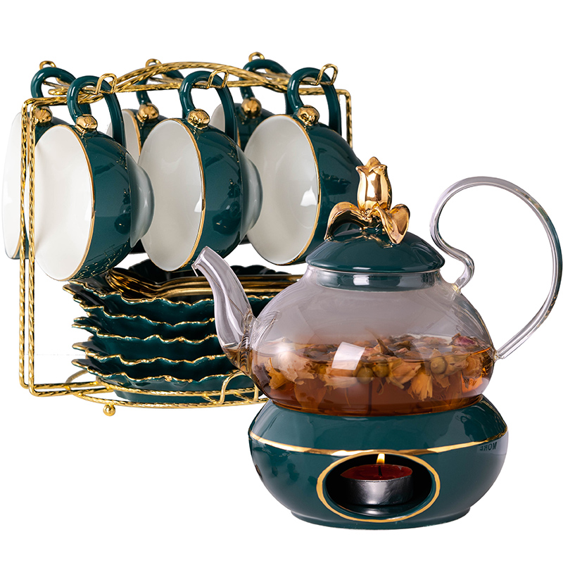 2019 Newest European Style Ceramic Tea Cup Set Luxury Household Tea Set Heat-resistant Fruit Glass Pot