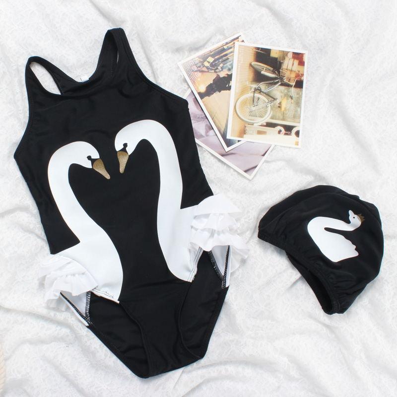 Black Swan One-piece CHILDREN'S Swimwear Super Adorable Little Girl GIRL'S Swimsuit Infants Baby Swimwear With Swim Cap