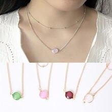 Bohemia dwuwarstwowy naszyjnik dla kobiet Opal kamień 2020 moda indie biżuteria wisiorek damski Choker naszyjniki