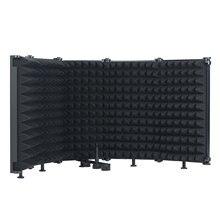Protector de aislamiento de micrófono plegable profesional, 5 paneles, pantalla de viento para estudio de grabación, esponja absorbente de alta densidad plegable