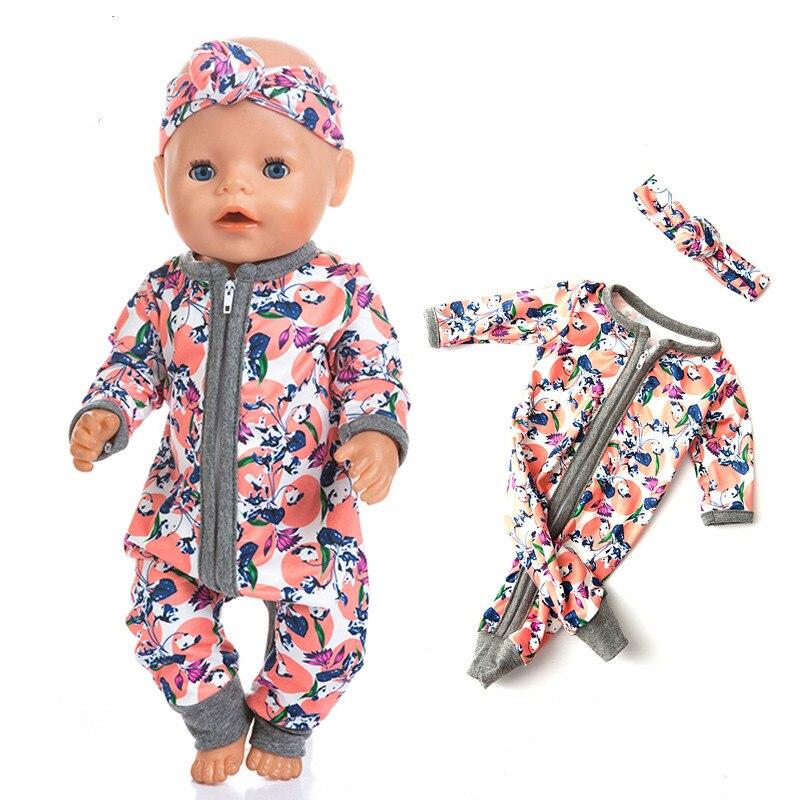 Roupa da boneca Acessórios Fit 18 polegada 43cm Nascido New Fruit Abacaxi Morango hairband Do Bebê Terno Para O Presente de Aniversário Do Bebê