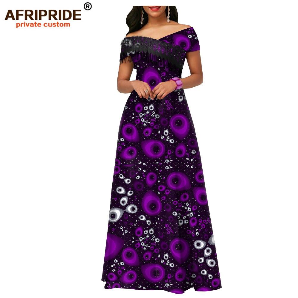 2020 African Maxi Dresses For Women Ankara Fabric+tassel Party Wedding Floor Length Women Casual Cotton Dress AFRIPRIDE A1925018