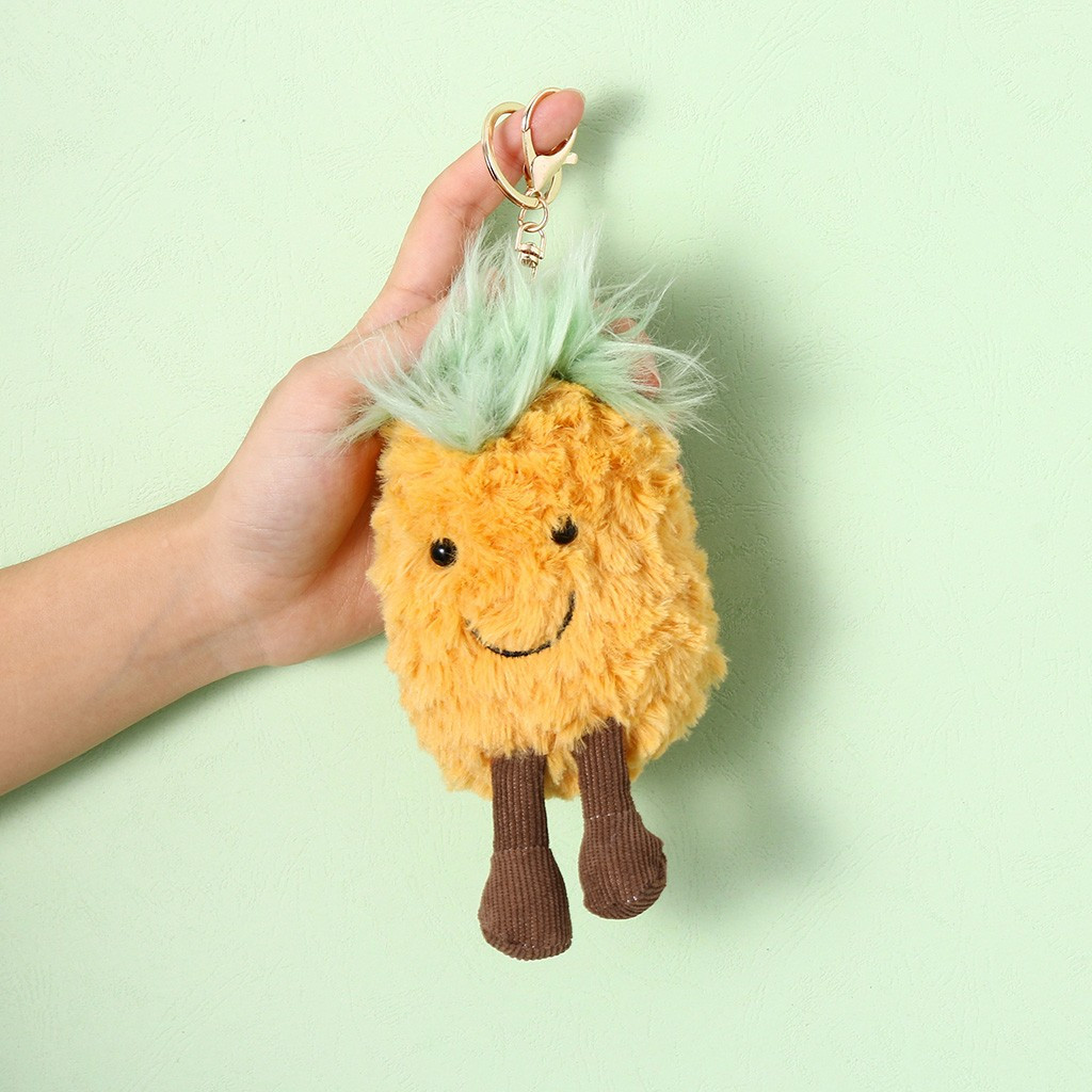 Cute Pineapple Head Keychain Cartoon Fruit Plush Toys Car Keyring Backpack Charms Pendant Trinket Unisex Plush Toy #A