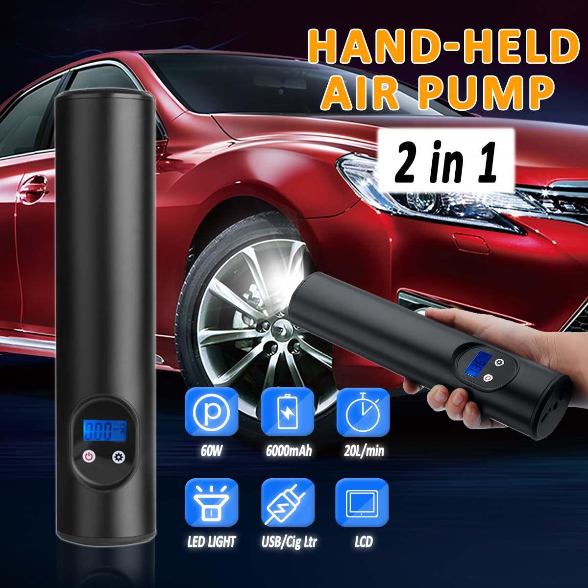6000mAh 150PSI Car Inflatable Air Pump USB Interface Cordless Air Compressor Car Mini Bike PumpTyre Inflator Motorcycle Tire