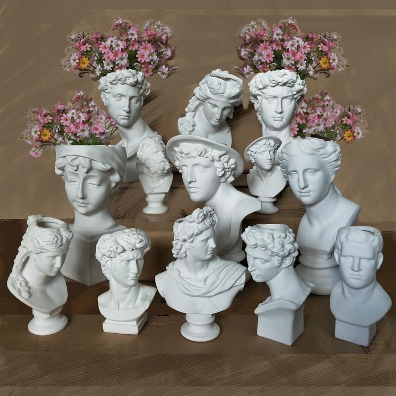 Creative Resin Imitation plaster vase David Sculpture head vase Flower arrangement accessories Apollo Venus Home Decorations