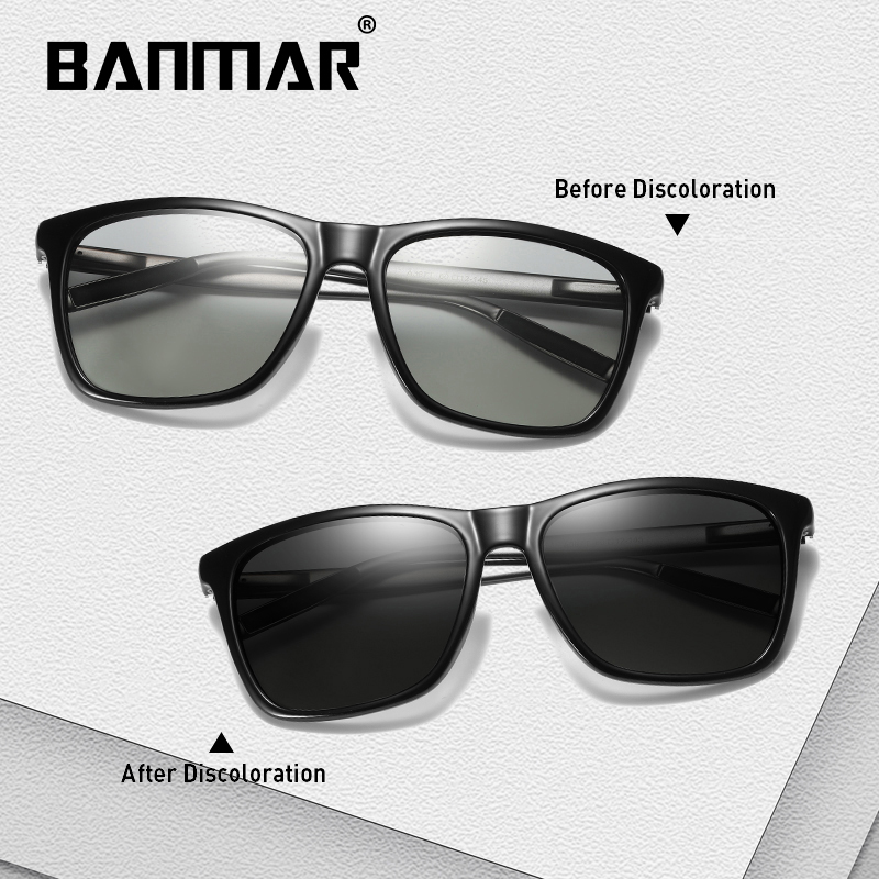 BANMAR Square Photochromic Sunglasses Men Women Polarized Chameleon Glasses Sun Glasses Yellow Day Night Vision Driving Eyewear in Men 39 s Sunglasses from Apparel Accessories