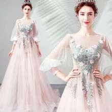 2020 Новая Фея цвет розовый вышитые невесты свадебное платье весна бордовое платье для vestido де noiva