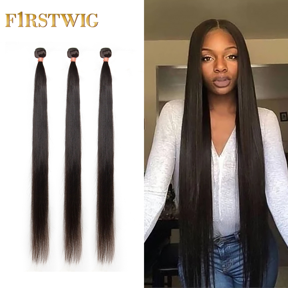 Brazilian Hair Weave Bundles Short 30 40 inch Long Straight Human Hair Bundles Non-remy Natural Hair Extensions pieces Firstwig