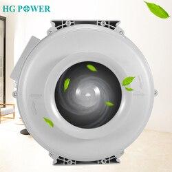 Ventilador centrífugo redondo de plástico de alta potencia de 4 ~ 8 pulgadas, 220V, ventilador de aire Ultra silencioso, Extractor de aire, ventilación para el hogar