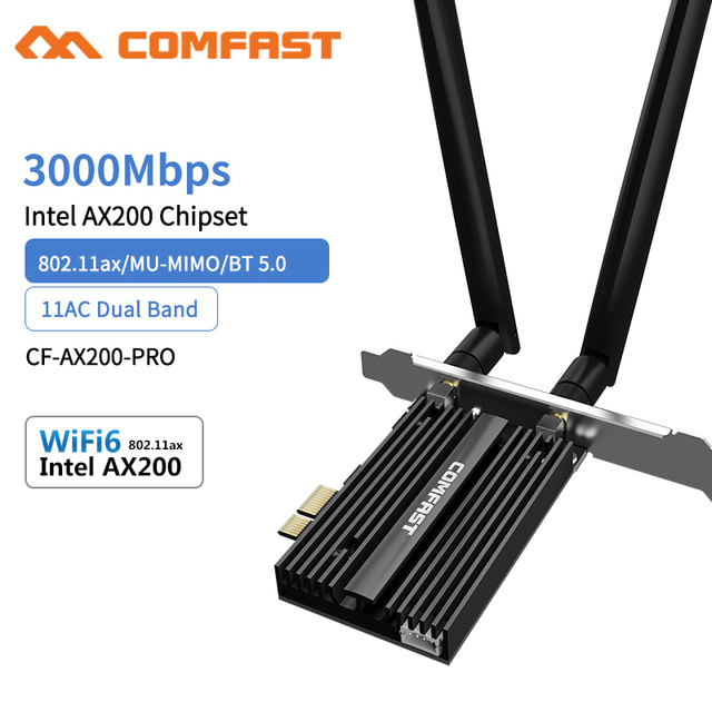 3000Mbps Dual Band Wireless Desktop PCIe For Intel AX200 Pro Card 802.11ax 2.4G/5Ghz Bluetooth 5.0 PCI Express WiFi 6 Adapter
