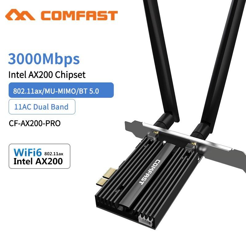 Двухдиапазонный беспроводной настольный PCIe, 3000 Мбит/с, для Intel AX200 Pro Card, 802.11ax, 2,4G/5 ГГц, Bluetooth 5,0, PCI Express, Wi-Fi, 6 адаптеров